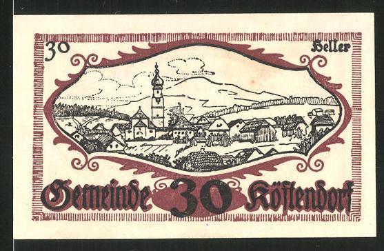 Notgeld Köstendorf 1920, 30 Heller, Ortsansicht