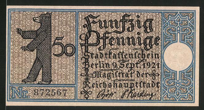 Notgeld Berlin 1921, 50 Pfennig, Berliner Bär und Stadtwappen, Mühle in Tegel 1800
