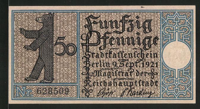 Notgeld Berlin 1921, 50 Pfennig, Berliner Bär und Stadtwappen, Gehöft in Pankow um 1770