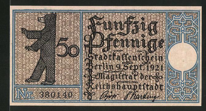 Notgeld Berlin 1921, 50 Pfennig, Berliner Bär und Stadtwappen, Lichtenberg um 1790