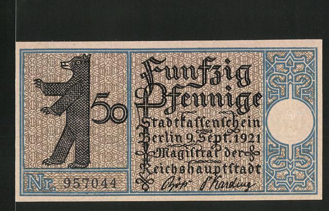 Notgeld Berlin 1921, 50 Pfennig, Stadtwappen und Berliner Bär, Köpenick um 1820