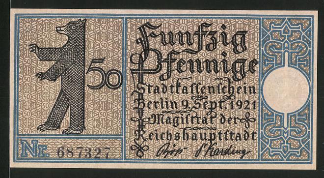 Notgeld Berlin 1921, 50 Pfennig, Stadtwappen und Berliner Bär, Gasthaus in Treptow 1820