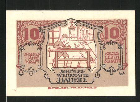 Notgeld Hallein 1920, 10 Heller, Schülerwerkstätte