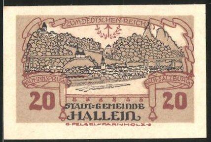 Notgeld Hallein 1920, 20 Heller, Ortsansicht, Salzburger Tor und Gollinger Tor