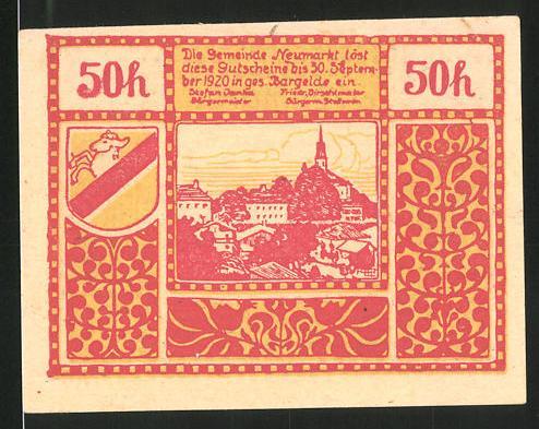 Notgeld Neumarkt am Wallersee 1920, 50 Heller, Strandbad Wallersee, Ortsansicht
