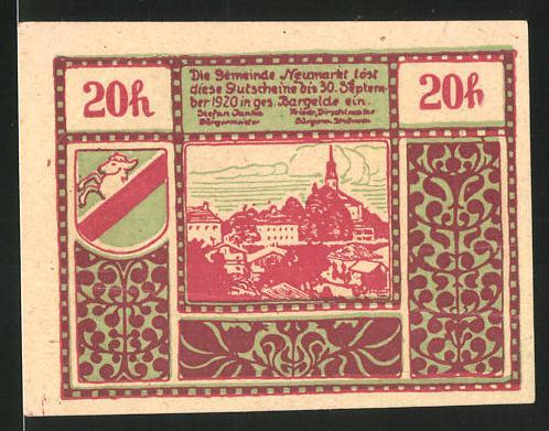 Notgeld Neumarkt am Wallersee 1920, 20 Heller, Schanzbogen, Ortsansicht