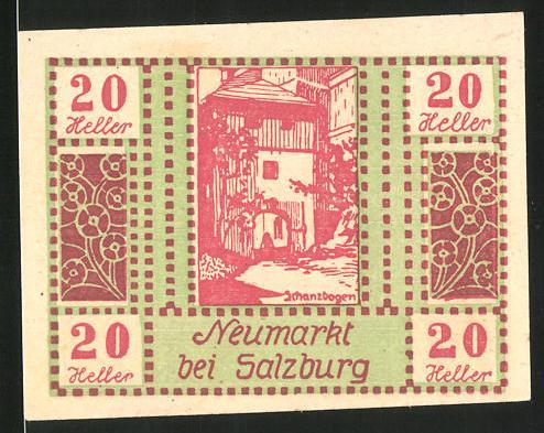 Notgeld Neumarkt am Wallersee 1920, 50 Heller, Schanzbogen, Ortsansicht