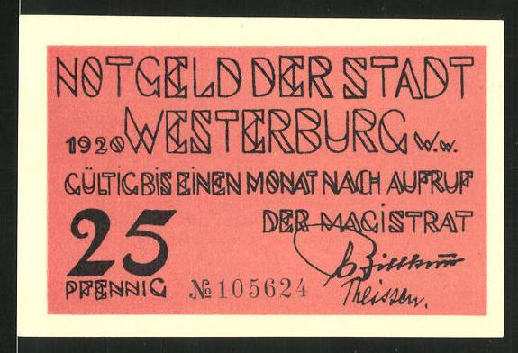 Notgeld Westerburg 1920, 25 Pfennig, Blumen