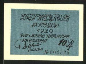 Notgeld Westerburg 1920, 10 Pfennig, Stadtwappen