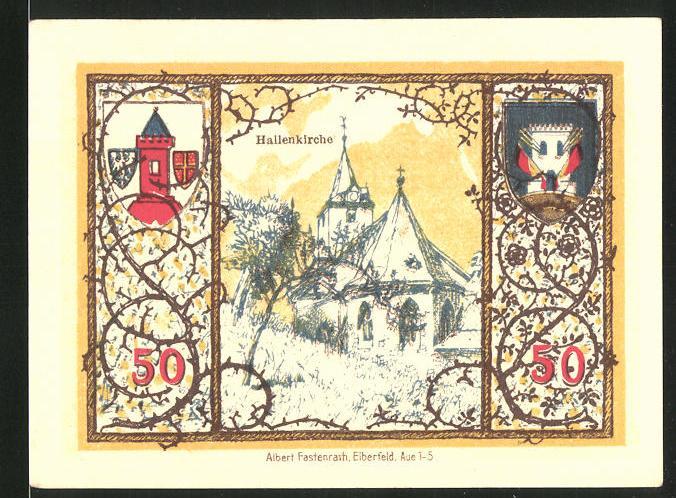 Notgeld Westerburg 1920, 50 Pfennig, Stadtwappen und Hallenkirche