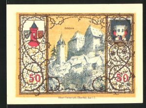 Notgeld Westerburg 1920, 50 Pfennig, Schloss und Stadtwappen