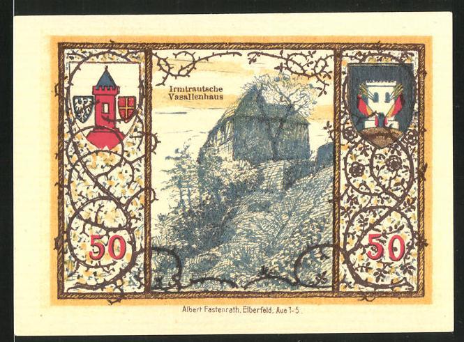 Notgeld Westerburg 1920, 50 Pfennig, Irmtrautsches Vasallenhaus und Stadtwappen