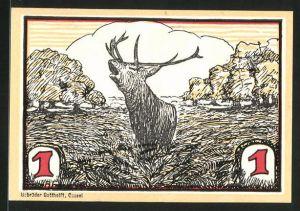 Notgeld Hofgeismar, 1 Mark, Hirsch während der Brunft, Eichenzweig