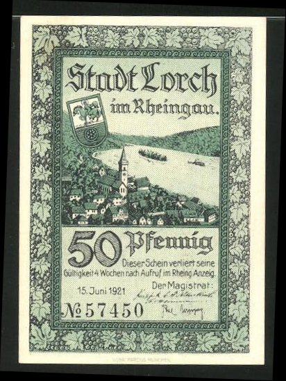 Notgeld Lorch im Rheingau 1921, 50 Pfennig, Stadtwappen und Ortsmotiv, Lorcher Bergsturz