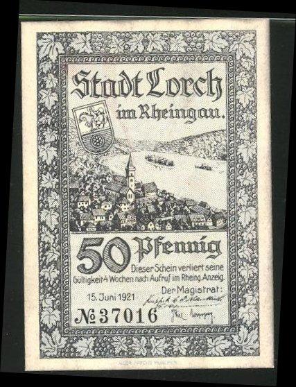 Notgeld Lorch im Rheingau 1921, 50 Pfennig, Stadtwappen und Ortsmotiv, der Freistaat Flaschenhals