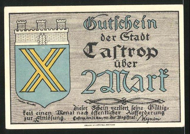 Notgeld Castrop 1921, 2 Mark, Stadtwappen, Husaren mit Pferden