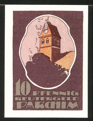 Notgeld Parchim 1922, 10 Pfennig, Rathaus, Mann im Bett rückseitig