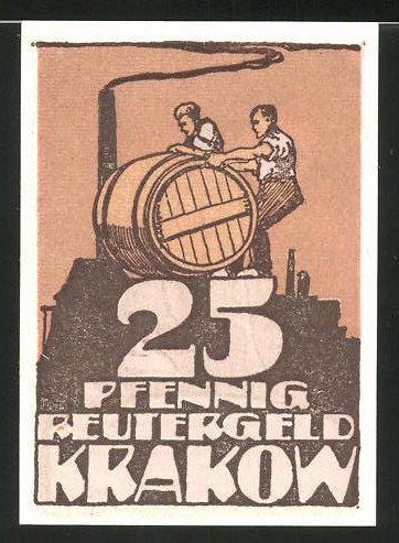 Notgeld Krakow 1922, 25 Pfennig, Küfer bauen ein Fass, rückseitig Waldrand bei Dämmerung