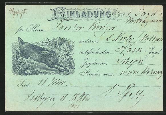 Künstler-AK Jagdeinladung für den 5. November 1902, Fliehender Hase