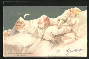 Künstler-AK Killinger Nr. 113: Eiger, Mönch und Jungfrau in heller Mondnacht, Berg mit Gesicht / Berggesichter