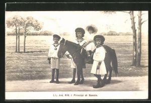 AK I Principi di Savoia, Prinz und Prinzessinen von Italien mit Pony