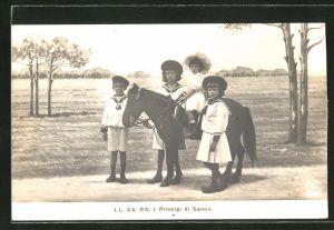 AK Portrait I Principi di Savoia als Kinder mit Pferd