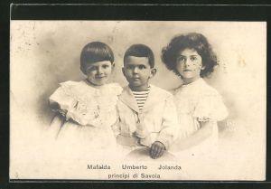 AK Mafalda, Umberto & Jolanda principi di Savoia als Kinder