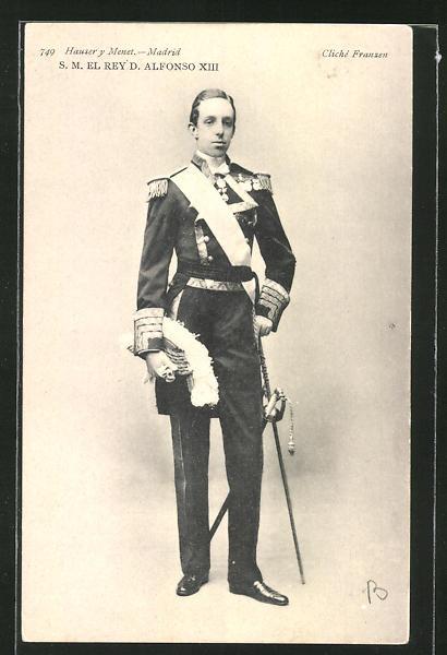 AK König Alfonso XIII von Spanien in Uniform