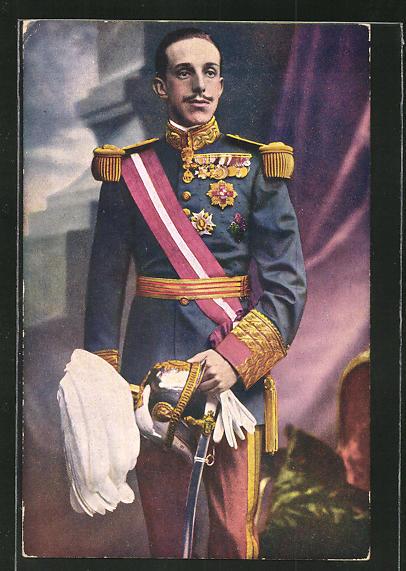 AK Bildnis des Königs Alfonso XIII von Spanien in Uniform