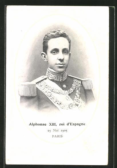 AK König Alfonso XIII. von Spanien in Uniform, Alphonse XIII. Roi d'Espagne, 29.5.1905, Paris
