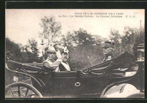 AK Visite de SM Alphonse XIII von Spanien a Paris, Le Roi-Le Général Dubois-Le Général Debatisse