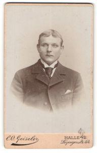 Fotografie C. O. Geiseler, Halle a. S., Portrait junger Mann im Anzug mit Krawatte