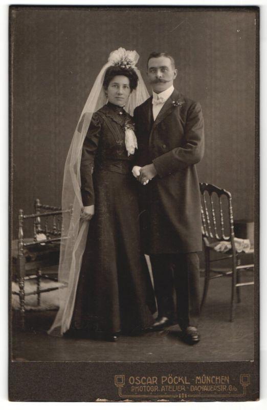 Fotografie Oscar Pöckl, München, Portrait Braut und Bräutigam
