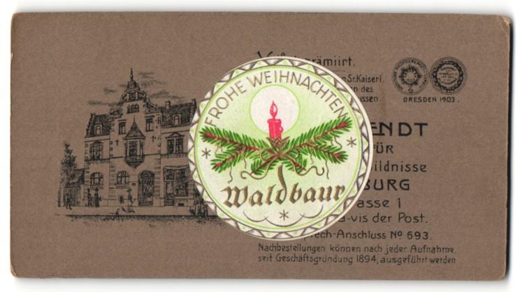 Fotografie Otto Wendt, Quedlinburg, Ansicht Quedlinburg, Partie am Geschäftshaus, Waldbaur-Weihnachts-Aufkleber