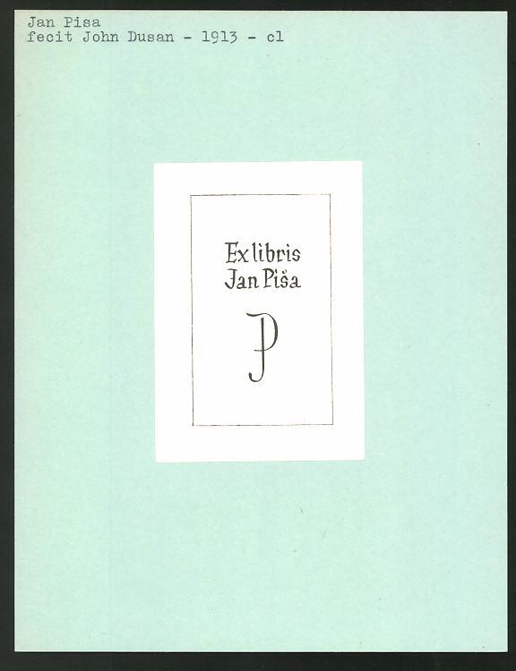 Exlibris von John Dusan für Jan Pisa, Initialien