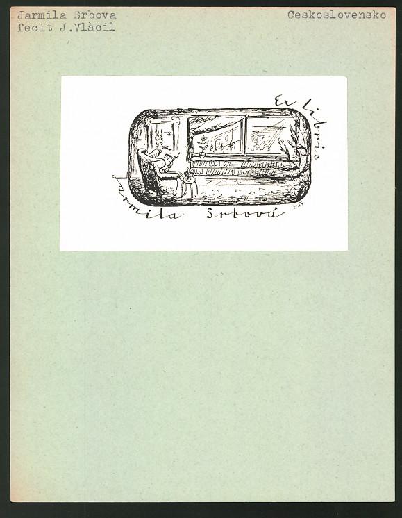 Exlibris von J. Vlácil für Jarmila Srbova, Frau im Sessel liest ein Buch