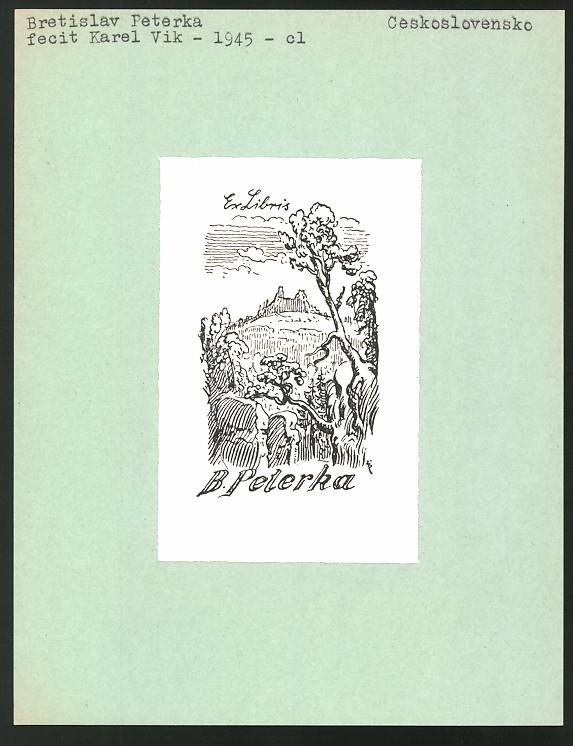 Exlibris von Karel Vik für Bretislav Peterka, Landschaftspanorama