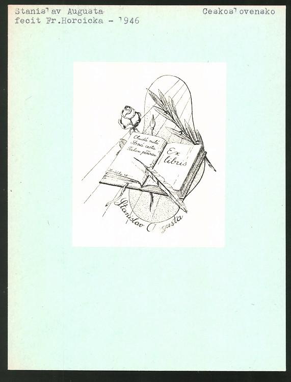 Exlibris von Fr. Horcicka für Stanislav Augusta, Rose, Lorbeerzweig & offenes Buch