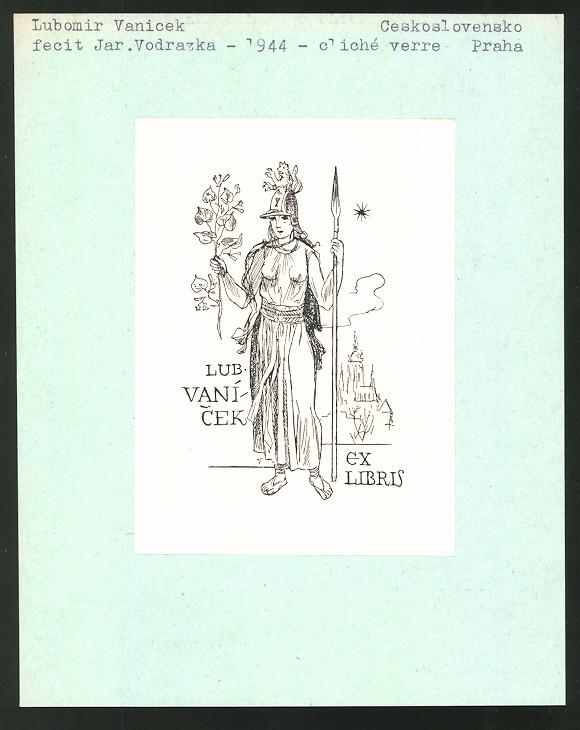 Exlibris von Jar. Vodrazka für Lubomir Vanicek, Kriegerin mit Speer trägt Löwen-Helm