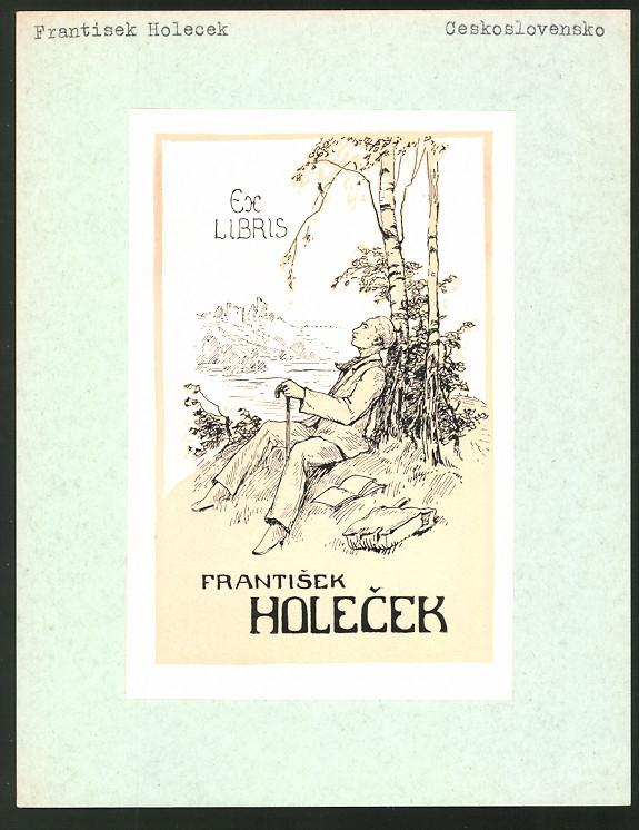 Exlibris Frantisek Holecek, Wanderer macht Rast im Schatten der Birken