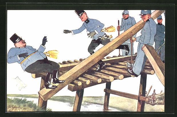 Künstler-AK Fritz Schönpflug: Soldaten beim Brückenbau, Scherz