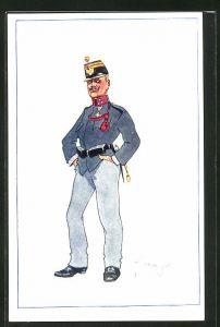 Künstler-AK Fritz Schönpflug: Soldat mit Schirmmütze