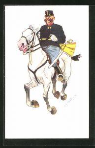 Künstler-AK Fritz Schönpflug: Soldat auf seinem Pferd