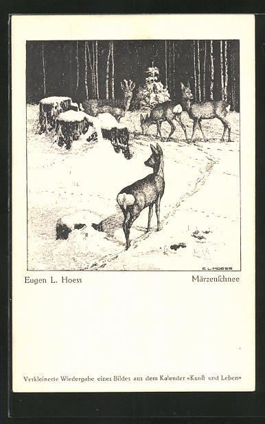 Künstler-AK Eugen Ludwig Hoess: Rehe im Märzenschnee