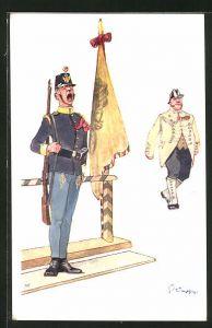 Künstler-AK Fritz Schönpflug: gähnender Soldat