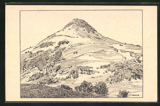 Künstler-AK Otto Ubbelohde: Achalm, Landschaft in Federzeichnung