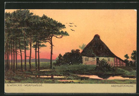 Künstler-AK Sophie Wencke: Abendstimmung am Landhaus