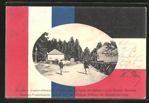 AK Rothau, Frontiere franco-allemanie, Grenzer an der Deutsch-Französischen Grenze zu St. Blaise