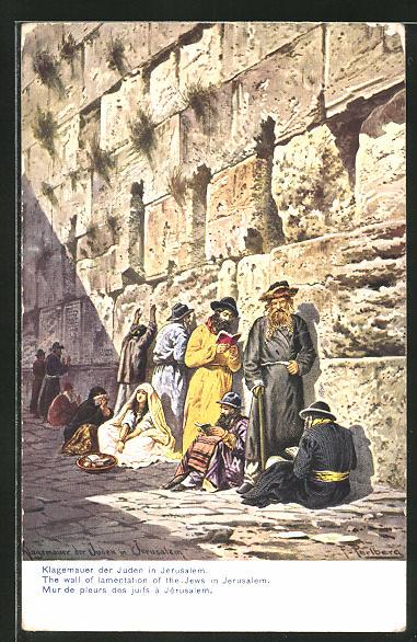 Künstler-AK Friedrich Perlberg: Jerusalem, Klagemauer der Juden