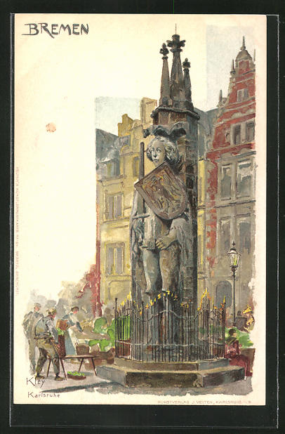 Künstler-Lithographie Heinrich Kley: Bremen, Roland